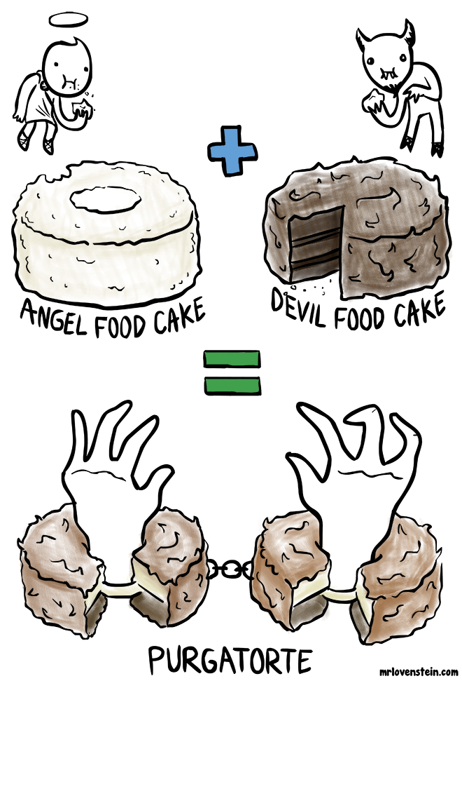 Angel food cake + Devil food cake Purgatorte